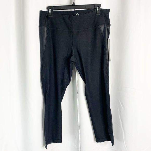 90 Degree By Reflex Pants - New 90 degrees by reflex black shiny capris xl